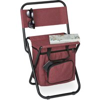 Relaxdays camping chair with bag, foldable, with back support, outdoor seat, folding fishing stool, garden chair, red
