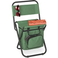 Relaxdays camping chair with bag, foldable, with backrest, outdoor seat, folding fishing stool, garden chair, green