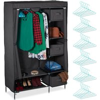 Canvas Wardrobe Set, Clothes Rail and Compartments, 3 Drawers, Foldable, 172.5x111.5x43.5 cm, Various Colours - Relaxdays