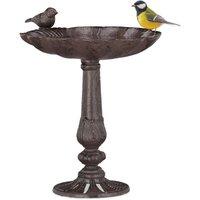 Cast Iron Bird Bath with Stand, Garden Decor, Bird Feeder, Water Bowl, Wild Bird Feeder, Brown - Relaxdays