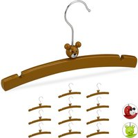 Relaxdays Childrens Clothes Hanger Set of 12, Animal Design, Wooden Holders for Boys and Girls, Baby Wardrobe, Brown