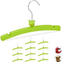 Childrens Clothes Hanger Set of 12, Animal Design, Wooden Holders for Boys and Girls, Baby Wardrobe, Green - Relaxdays