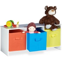 Relaxdays Childrens Storage Bench ALBUS, Colourful Fabric