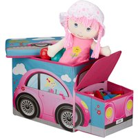 Childrens Storage Ottoman, Lidded Toy Box, Folding, Boys and Girls, Car Design, 50 Litres, Pink - Relaxdays