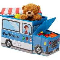 Childrens Storage Ottoman, Lidded Toy Box, Folding, Boys and Girls, Ice Cream Design, 50 Litres, Blue - Relaxdays
