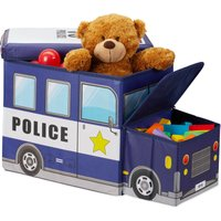 Childrens Storage Ottoman, Lidded Toy Box, Folding, Boys and Girls, Police Design, 50 Litres, Dark Blue - Relaxdays