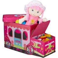 Relaxdays Childrens Storage Ottoman, Lidded Toy Box, Folding, Boys and Girls, Unicorn Wagon Design, 50 Litres, Pink