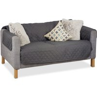 Couch Cover, Throw, No Pet Hair or Stains, 2-Seater, Gray - Relaxdays