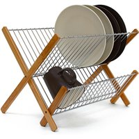 CROSS Bamboo And Chromed Steel Draining Rack: 27 x 38 x 29 cm Drying Rack Folding Dish Drainer For Plates, Cups, Glasses, Natural - Relaxdays
