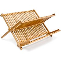 CROSS Dish Rack, 24.5 x 42 x 33 cm, Bamboo Two-Tier Foldable Drying Rack, Natural Brown - Relaxdays