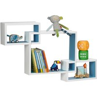 Relaxdays Cube Wall Shelf, Square Wooden Floating Shelf, Plug-In, MDF, HxWxD: 48 x 70.5 x 10 cm, Various Colours