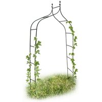 Curved and Pointed Rose Arch, Arbour Growth Support For Climbing Plants, Metal, 2.4 m Tall, Dark Green - Relaxdays