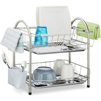 Dish Drainer with 2 Tiers, Cutlery Holder, Dish Rack, Drip Tray, Stainless Steel, HxWxD: 39.5 x 60 x 22 cm, Silver - Relaxdays
