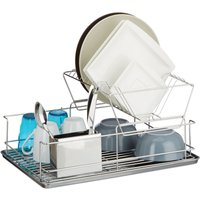 Relaxdays Dish Drainer, With Cutlery Basket, Drip Tray, Dish Rack, Stainless Steel, Robust, HxWxD: ca 23.5 x 48 x 32 cm, Silver