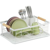 dish drainer with drip tray and cutlery basket, kitchen draining rack, plate rack, drying rack in white - Relaxdays