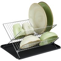 Relaxdays dish drainer with drip tray, foldable drying rack, kitchen draining rack, plate rack, metal, drainer in black