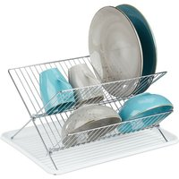 dish drainer with drip tray, foldable drying rack, kitchen draining rack, plate rack, metal, drainer in white - Relaxdays