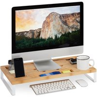 Relaxdays Display Stand, Bamboo and Iron Screen Riser for Monitor or Laptop, Ergonomic Desk Organiser, White