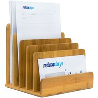 Document Holder Bamboo With Letter Tray 23 x 24.5 x 20.5 cm Practical Organization System For Your Desk Table Magazine, Document, Paper Holder,