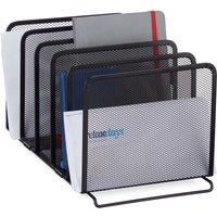 Document Organiser, Metal Magazine Rack, 5 Filing Compartments, Mesh Look, 18.5x20.5x37.5 cm, Black - Relaxdays
