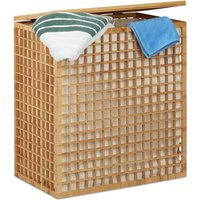 Double Laundry Hamper, 2-Compartment Bin with Removable Laundry Bag, 96 L, HWD: 62x56x35 cm, Natural - Relaxdays
