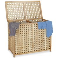 Relaxdays Double Laundry Hamper Laundry Basket 2 Part Laundry Bin 46.1 x 87.9 x 68.1 cm Laundry Sorter Double Laundry Box with 2 Linen Sacks Bags,