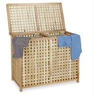 Double Laundry Hamper Laundry Basket 2 Part Laundry Bin 46.1 x 87.9 x 68.1 cm Laundry Sorter Double Laundry Box with 2 Linen Sacks Bags, Natural