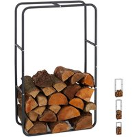 Firewood Rack, Log Stacking Aid, Steel, For In- and Outdoor Use, Wood Pile Shelf, H x W 100 x 60 cm, Anthracite - Relaxdays
