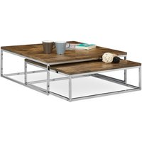 Relaxdays FLAT Nested Coffee Tables Set of 2, Size: 27 x 80 x 80 cm Low Tables with Chromed Metal, Dark Brown
