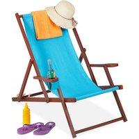 folding deck chair, wooden, 3 reclining positions, armrest and drinks holder, 120 kg, beach chair, light blue - Relaxdays