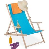Relaxdays folding deck chair, wooden, 3 reclining positions, armrest and drinks holder, 120 kg, beach chair, light blue