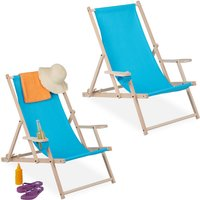 Relaxdays folding deck chairs set of 2, wooden, 3 reclining positions, armrest and drinks holder, 120 kg, light blue