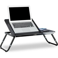 Relaxdays Folding Laptop Table, 40 x 75 x 35 cm, Bed Tray, with Reading Stand, Foldable, Adjustable Height, Black