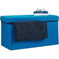 Folding Ottoman Storage Bench XL 38 x 76 x 38 cm Sturdy Foldable Foot Stool Box Bench with Removable Lid, Blue - Relaxdays