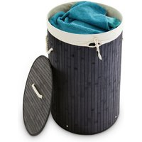 Folding Round Laundry Basket, 41 cm Diameter, 65 cm Tall, Foldable, Volume of 80 L, with Cotton Laundry Sack, Black - Relaxdays