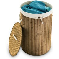Folding Round Laundry Basket, 41 cm Diameter, 65 cm Tall, Foldable, Volume of 80 L, with Cotton Laundry Sack, Natural Brown - Relaxdays