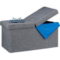 Folding Storage Bench, Padded, Hinged Lid, Hallway Chest, Bedroom Stand, Dark Grey - Relaxdays