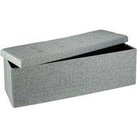 Folding Storage Bench XL, 38 x 114 x 38 cm, Foldable Ottoman Footstool, with Lid, Fabric, Grey - Relaxdays