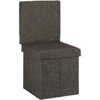 Relaxdays Folding Storage Ottoman w/ Back, Size 73 x 38 x 38 cm Footstool Linen Bench with Removable Lid, Brown