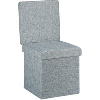 Relaxdays Folding Storage Ottoman w/ Back, Size 73 x 38 x 38 cm Sturdy Pouffe Practical Footstool w/ Seat and Linen Bench as Storage Box with Removable