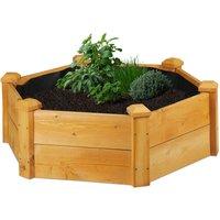 Relaxdays garden bed, hexagonal, planter box, herbs, vegetables, with fleece liner, 90x90x30 cm (LxWxH), natural finish