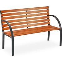 Relaxdays garden bench, 2 seater, made of wooden slats, outdoor park bench, 123 x 56 x 83.5 cm (LxWxH), brown/black