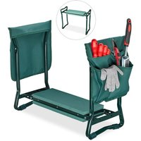 Relaxdays Garden Kneeler and Seat, Soft Knee Pad, 2 Side Pocket Bags, Foldable, 2in1, Up To 150 kg, 50x60x27.5cm, Green