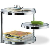 Relaxdays Glass Coffee Table With Swivel Tray, 3 Round Plates, Coffee Table H x W x D: approx. 39 x 52 x 45 cm, Silver