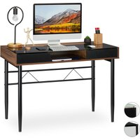 Relaxdays Glass Desk, Cable Hatch, Office Table With Drawers, PC Glass Table, HWD 78x110x55cm, Wood/Black