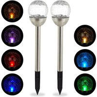 Glass Sphere Garden Lights Set of 2, Modern Solar Lamps, Cullet Look, Waterproof, Colour Change, Silver - Relaxdays