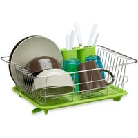 Green Dish Drainer, Stainless Steel with Plastic Tray, Cutlery Holder, Dish Rack, HxWxD: 15.5 x 40 x 30 cm, Green-Silver - Relaxdays