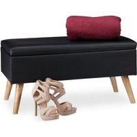 Relaxdays Hallway Storage Bench, 40L, Padded Faux Leather Trunk, Wooden Legs, HxWxD: 40 x 80 x 39.5 cm, Black