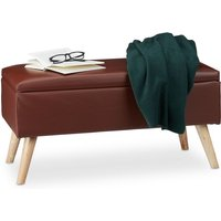Hallway Storage Bench, 40L, Padded Faux Leather Trunk, Wooden Legs, HxWxD: 40 x 80 x 39.5 cm, Brown - Relaxdays