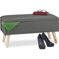 Relaxdays Hallway Storage Bench, 40L, Padded Faux Leather Trunk, Wooden Legs, HxWxD: 40 x 80 x 39.5 cm, Various Colors